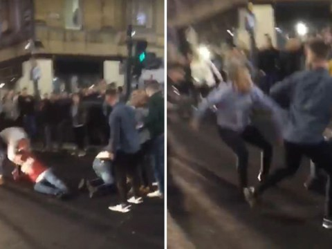 Huge brawl stops traffic moments after Anthony Joshua wins fight