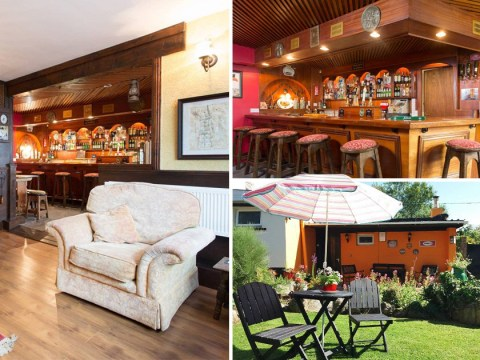 You can stay in your very own self-serving pub complete with a cosy log fire