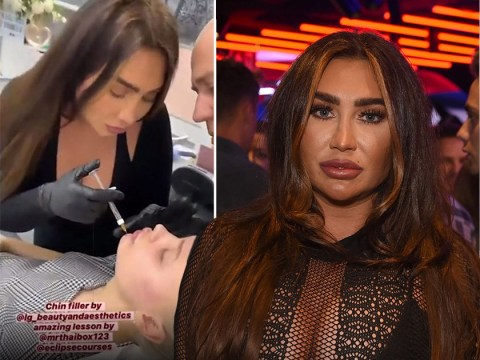 Lauren Goodger trains to administer lip and facial fillers and shares videos injecting people's faces