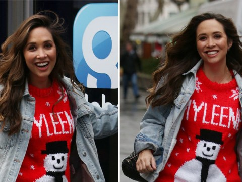 Myleene Klass celebrates Christmas in style as she rocks festive personalised jumper on the way to work