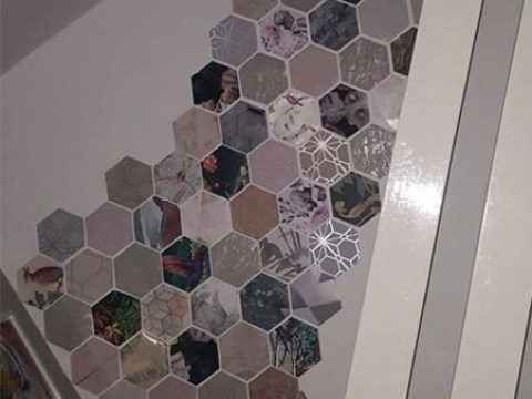 Mum creates amazing feature wall for just £3 using free samples of wallpaper and Blu-Tack