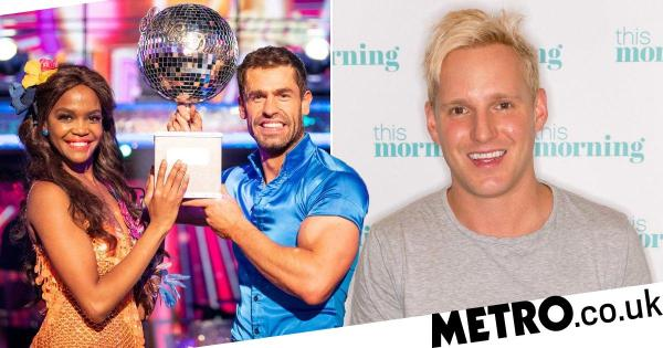 Jamie Laing congratulates Kelvin Fletcher and Oti Mabuse after Strictly win