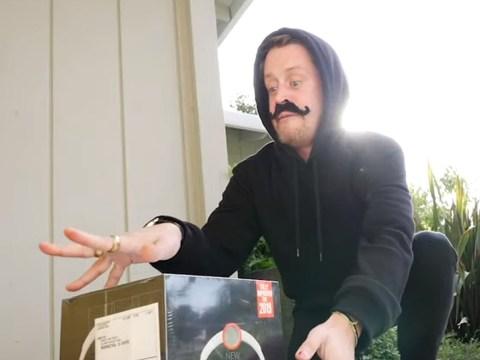 Macaulay Culkin turns into the ultimate burglar for a glittery Home Alone-style prank