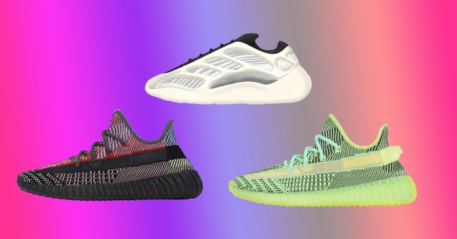 a selection of adidas yeezys