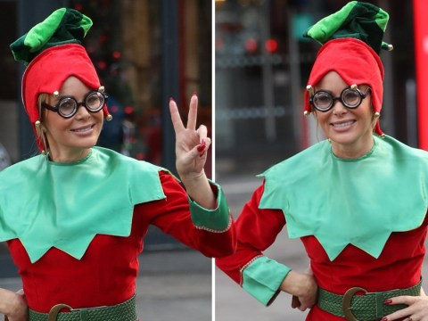Amanda Holden rocks an elf outfit as the self-confessed Christmas lover gets in the spirit