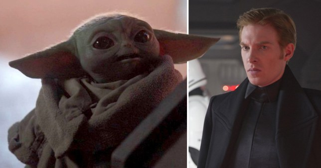 Baby Yoda and Domhnall Gleeson