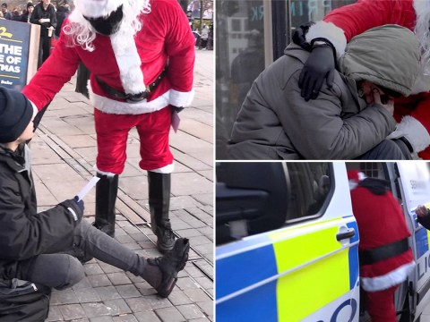 Masked Santa 'arrested' after handing £10 notes to rough sleepers in Christmas cards