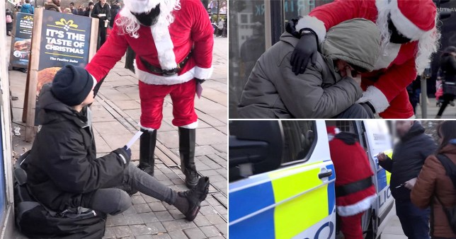 Man dressed as Father Christmas arrested after handing out Christmas cards to homeless people