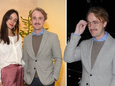 Tom Felton and his fabulous facial hair enjoy festive night out after reuniting with Harry Potter cast