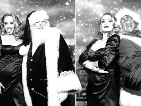Adele sports glamorous makeover at Christmas party as she poses with the Grinch and Santa
