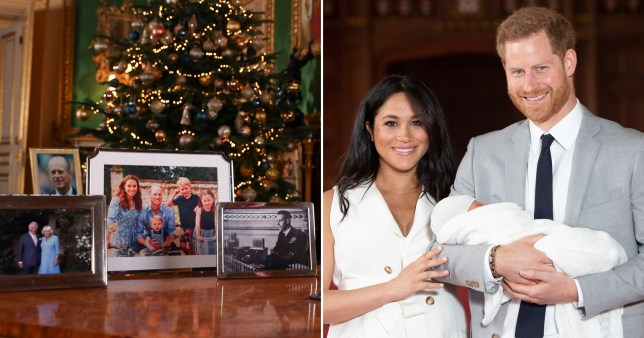Meghan Markle and Prince Harry appear to be missing from the photos on the Queen's desk in her Christmas speech