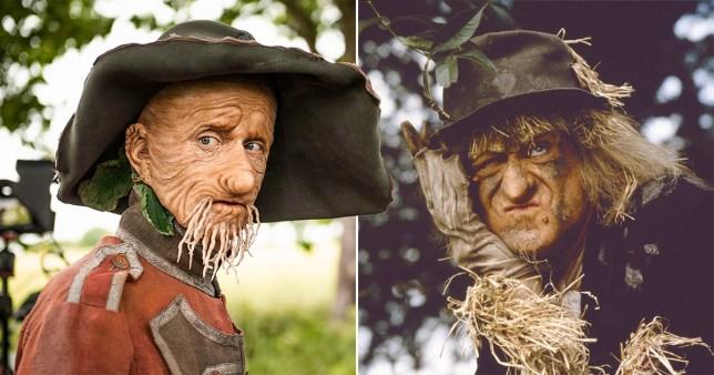 A comp of Mackenzie Crook and Jon Pertwee as Worzel Gummidge