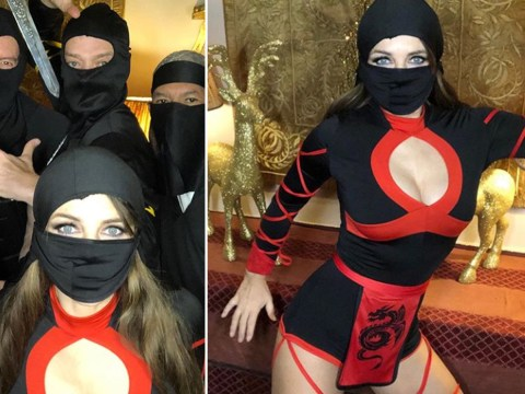 Elizabeth Hurley ditches festive gear for ninja outfit at Christmas party because Santa is so last year