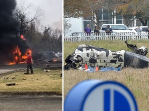 Five dead after plane crashes into car park and sets on fire