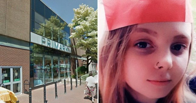 Caitlin Wright was last seen near Primark, in Coopers Square, Burton (Pictures: Google; Derbyshire Police)