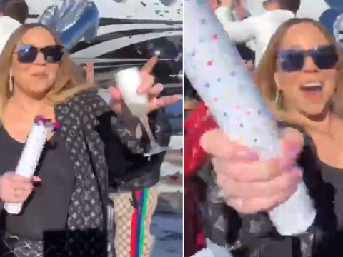 Mariah Carey celebrates having chart hits in four decades with a swanky private jet party, naturally