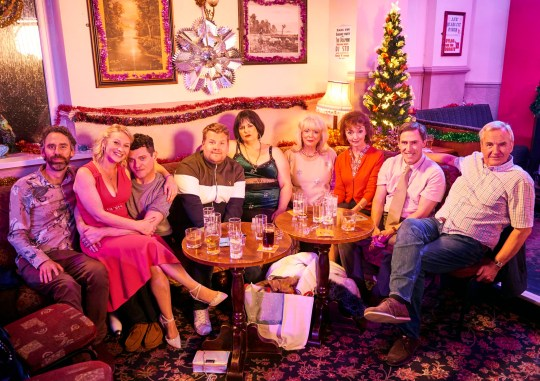 For use in UK, Ireland or Benelux countries only Undated BBC handout photo of the cast of Gavin and Stacey, (left to right) Rob Wilfort as Jason, Joanna Page as Stacey, Matthew Horne as Gavin, James Corden as Smithy, Ruth Jones as Nessa, Alison Steadman as Pam, Melanie Waters as Gwen, Roby Brydon as Bryn and Larry Lamb as Mick, as the comedy returns to BBC television in a one-off special on Christmas Day. PA Photo. Issue date: Tuesday November 26, 2019. See PA story SHOWBIZ Christmas. Photo credit should read: Tom Jackson/BBC/PA Wire NOTE TO EDITORS: Not for use more than 21 days after issue. You may use this picture without charge only for the purpose of publicising or reporting on current BBC programming, personnel or other BBC output or activity within 21 days of issue. Any use after that time MUST be cleared through BBC Picture Publicity. Please credit the image to the BBC and any named photographer or independent programme maker, as described in the caption. James Wood