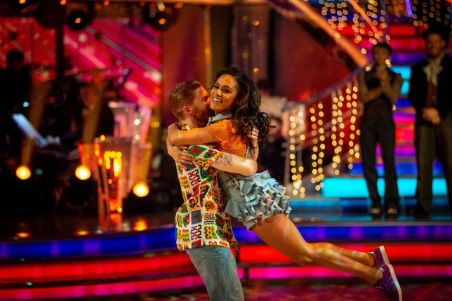 Embargoed to 2000 Sunday December 1 For use in UK, Ireland or Benelux countries only BBC handout photo of Alex Scott and Neil Jones after the former England Women International footballer became the latest celebrity to be voted off BBC1's Strictly Come Dancing. PA Photo. Issue date: Sunday December 1, 2019. See PA story SHOWBIZ Strictly. Photo credit should read: Guy Levy/BBC/PA Wire NOTE TO EDITORS: Not for use more than 21 days after issue. You may use this picture without charge only for the purpose of publicising or reporting on current BBC programming, personnel or other BBC output or activity within 21 days of issue. Any use after that time MUST be cleared through BBC Picture Publicity. Please credit the image to the BBC and any named photographer or independent programme maker, as described in the caption.