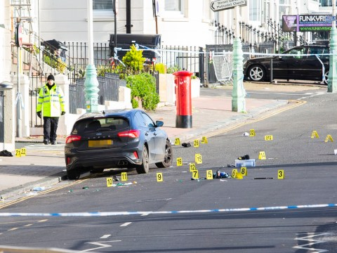 Three men mowed down by car after mass brawl in Brighton