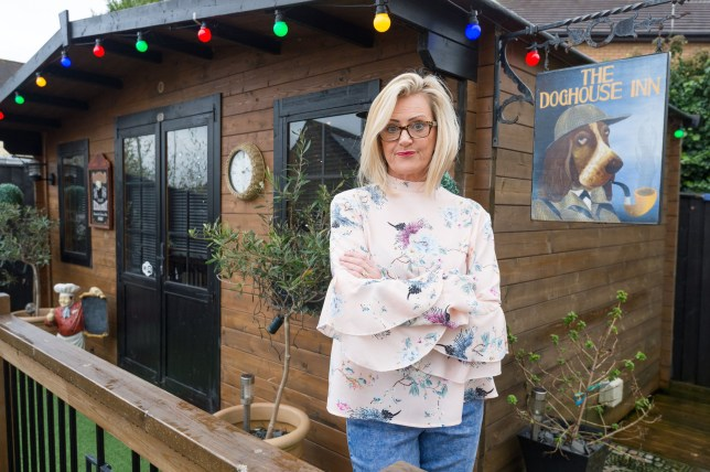 A savvy wife has brought a whole new meaning to her husband being in the doghouse - by building a pub named the Doghouse Inn in her back garden in an attempt to stop him heading to their local boozer. Jayne Tapper, 48, created the ultimate solution to keeping her husband at home and managed to get her husband Paul, firmly on a leash - as he now spends his evenings in the back garden - instead of down the pub. Building her own inn in the back garden, the crafty mum-of-five made the aptly named Doghouse Inn over a span of five months - now hosting infamous boozy parties and managing to keep her husband from ever wanting to leave the house. Jayne, a nurse, said: My husband Paul, 53, an engineer had always loved popping down to our local, and I could never seem to keep him at home.