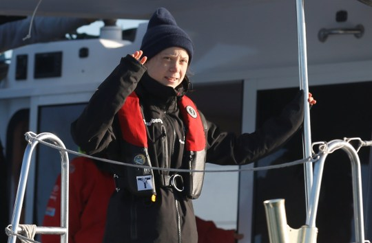 Climate change activist Greta Thunberg arrives aboard the yacht La Vagabonde at Santo Amaro port in Lisbon, Portugal December 3, 2019. REUTERS/Rafael Marchante