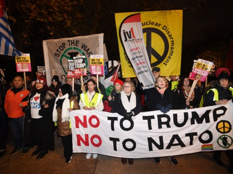 Protesters against Nato visit warn Trump to take his 'hands off our NHS'