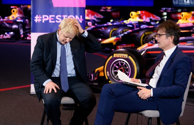 Mandatory Credit: Photo by Jonathan Hordle/REX (10491833l) Boris Johnson and Robert Peston 'Peston' TV show, Series 3, Episode 15, London, UK - 04 Dec 2019