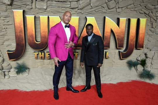 Dwayne Johnson Kevin Hart at Jumanji: The Next Level premiere
