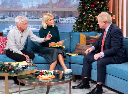 Editorial use only Mandatory Credit: Photo by Ken McKay/ITV/REX/Shutterstock (10492311x) Phillip Schofield and Holly Willoughby with Boris Johnson 'This Morning' TV show, London, UK - 05 Dec 2019 DAYTIME EXCLUSIVE: PRIME MINISTER BORIS JOHNSON In just seven days, the nation will go to the polls in what many have labelled the most vital general election of our generation. But who will hold the keys to Number 10 by the end of next week? Well one man who?s hoping to stay put this Christmas, is Prime Minister Boris Johnson. In a Daytime exclusive, the Prime Minister joins us on the sofa today. We?ll be asking if he is planning to sell our NHS to Donald Trump, whether he really believes Brexit will be done by the end of January, and if he thinks he?ll still have a job in a week?s time.