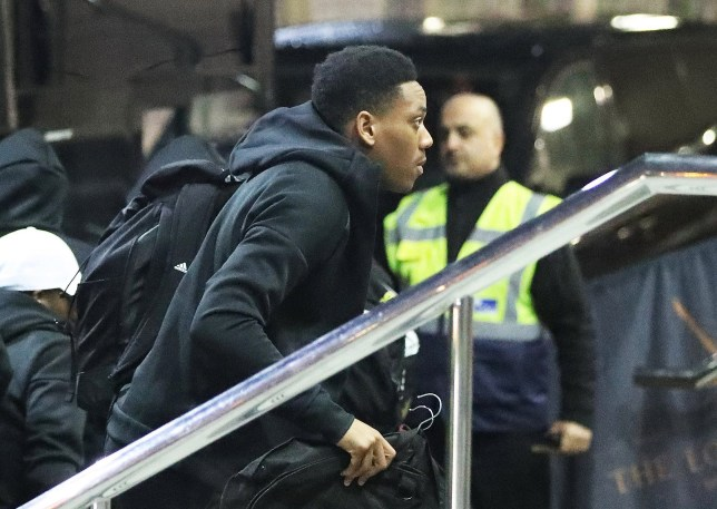 Anthony Martial and the Manchester United team arrive at The Lowry Hotel on Friday evening