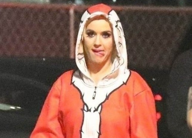 Katy Perry is Christmas personified as she rocks a festive Santa onesie with her dog Nugget