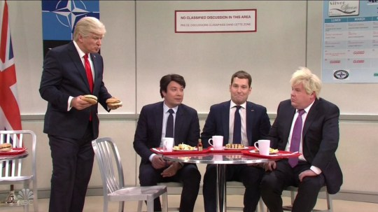 Jimmy Fallon, Paul Rudd and James Corden make hilarious cameos in SNL NATO cafeteria cold open sketch.