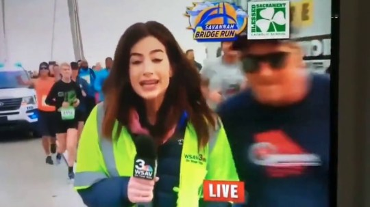 TV reporter smacked on bottom during live broadcast