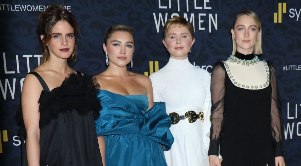 New York, NY - Guests pose at the World premiere of Little Woman at the Museum Of Modern Art in New York. Pictured: Emma Watson, Saorise Ronan, Florence Pugh, Eliza Scanlan, BACKGRID USA 7 DECEMBER 2019 BYLINE MUST READ: MediaPunch / BACKGRID USA: +1 310 798 9111 / usasales@backgrid.com UK: +44 208 344 2007 / uksales@backgrid.com *UK Clients - Pictures Containing Children Please Pixelate Face Prior To Publication*