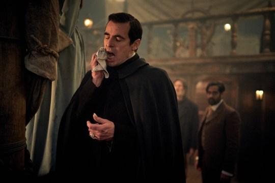WARNING: Embargoed for publication until 00:00:01 on 07/12/2019 - Programme Name: Dracula - TX: n/a - Episode: Dracula - episode 2 (No. n/a) - Picture Shows: Dracula (CLAES BANG), Captain Sokolov (JONATHAN ARIS), Dr Sharma (SACHA DHAWAN) - (C) Hartswood Films - Photographer: Robert Viglasky