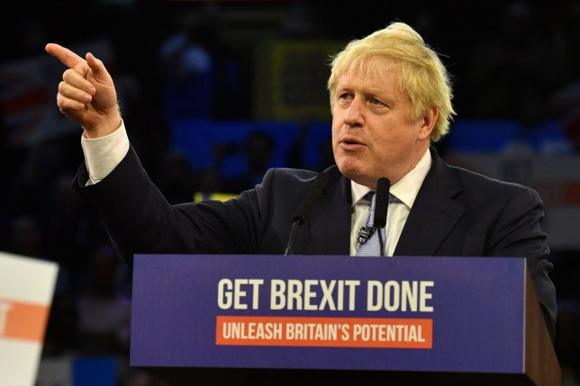 Britain's Prime Minister and Conservative party leader Boris Johnson