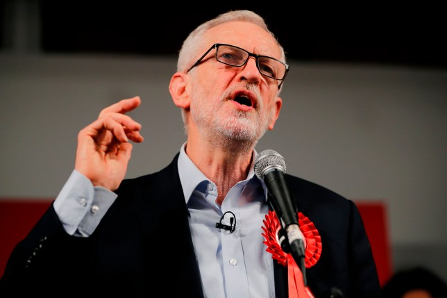 Britain's Labour Party leader Jeremy Corbyn speaks during a general election campaign rally in East London on December 11, 2019, the final day of campaigning for the general election. - Britain will go to the polls tomorrow to vote in a pre-Christmas general election. (Photo by Tolga AKMEN / AFP) (Photo by TOLGA AKMEN/AFP via Getty Images)
