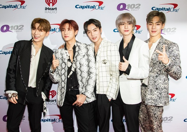 PHILADELPHIA, PENNSYLVANIA - DECEMBER 11: (L-R) Kihyun, Hyungwon, Shownu, Jooheon and Wonho of Monsta X attend Q102's iHeartRadio Jingle Ball 2019 at Wells Fargo Center on December 11, 2019 in Philadelphia, Pennsylvania. (Photo by Gilbert Carrasquillo/Getty Images)