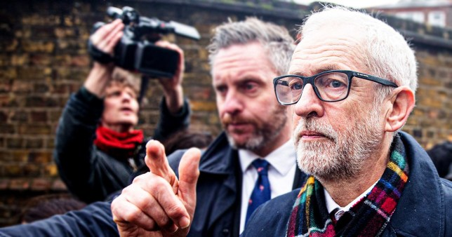 LONDON, UNITED KINGDOM - DECEMBER 12: Britain's opposition Labour Party Leader Jeremy Corbyn leaves a polling station after voting in the general elections in London, United Kingdom, on 12 December 2019 (Photo by Yunus Dalgic/Anadolu Agency via Getty Images)