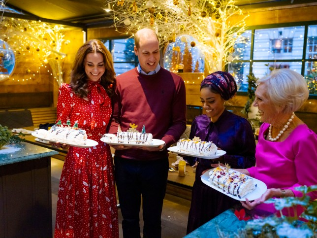 EMBARGOED TO 0001 MONDAY DECEMBER 16 For use in UK, Ireland or Benelux countries only Undated handout photo of the Duke and Duchess of Cambridge, Nadiya Hussain and Mary Berry with their finished Christmas meringue roulades in the winter chalet at the Rosewood London Hotel. The celebrity cook joined the Duke and Duchess of Cambridge on a number of royal visits for the BBC1 programme A Berry Royal Christmas, due to be screened on December 16, where the couple get to show off their culinary skills under Mary's watchful eye. PA Photo. Issue date: Monday December 16, 2019. See PA story SHOWBIZ Berry. Photo credit should read: BBC/Shine TV/Kensington Palace/PA Wire NOTE TO EDITORS: Not for use more than 21 days after issue. You may use this picture without charge only for the purpose of publicising or reporting on current BBC programming, personnel or other BBC output or activity within 21 days of issue. Any use after that time MUST be cleared through BBC Picture Publicity. Please credit the image to the BBC and any named photographer or independent programme maker, as described in the caption.