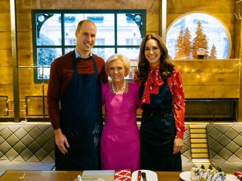 What time is Mary Berry's Christmas show with Prince William and Kate Middleton on and how are they involved?