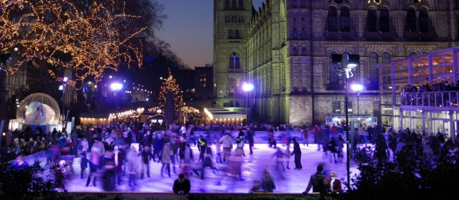 Mandatory Credit: Photo by Geoff Wilkinson/REX/Shutterstock (730860j) People Ice Skating at Christmas at Natural History Museum, London, England, Britain Various