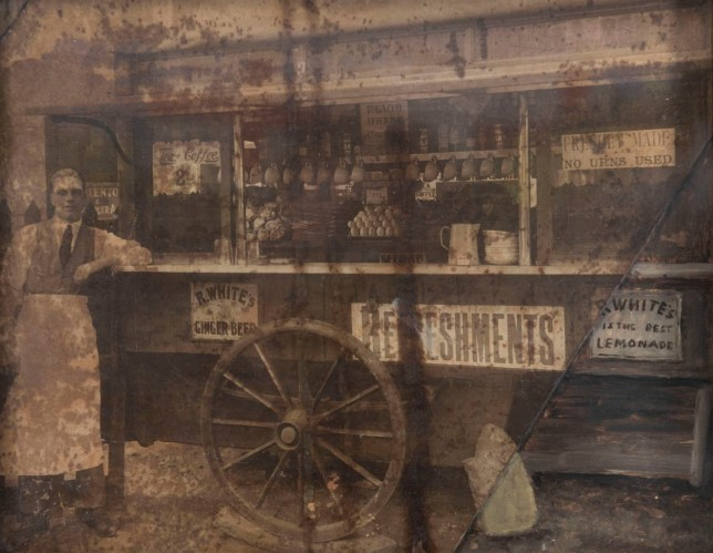 A photo of Syd's Coffee Stall from 1920, showing Syd standing next to his creation