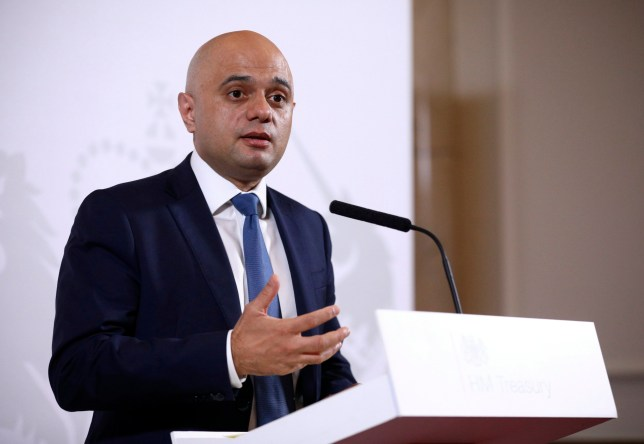 Britain's Chancellor of the Exchequer Sajid Javid delivers a statement at The Treasury in London, Friday Dec. 20, 2019. Sajid Javid announced that Andrew Bailey, head of Britain???s financial watchdog, will be the next governor of the Bank of England, replacing Mark Carney from March 15, 2020. (Tom Nicholson/Pool via AP)