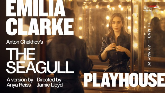 The Seagull starring Emilia Clarke Poster for upcoming show at The Playhouse Theatre March 2020 The Ambassador Theatre Group