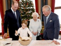 An undated photograph released on December 21, 2019 by Buckingham Palace shows Britain's Queen Elizabeth, Prince Charles, Prince William, and Prince George preparing special Christmas puddings in the Music Room at Buckingham Palace, as part of the launch of The Royal British Legion's Together at Christmas initiative in London, Britain. Chris Jackson/Handout via REUTERS THIS IMAGE HAS BEEN SUPPLIED BY A THIRD PARTY. NEWS EDITORIAL USE ONLY. NO COMMERCIAL USE (INCLUDING ANY USE IN MERCHANDISING, ADVERTISING OR ANY OTHER NON-EDITORIAL USE INCLUDING, FOR EXAMPLE, CALENDARS, BOOKS AND SUPPLEMENTS). THIS PHOTOGRAPH IS PROVIDED TO YOU STRICTLY ON CONDITION THAT YOU WILL MAKE NO CHARGE FOR THE SUPPLY, RELEASE OR PUBLICATION OF IT AND THAT THESE CONDITIONS AND RESTRICTIONS WILL APPLY (AND THAT YOU WILL PASS THESE ON) TO ANY ORGANISATION TO WHOM YOU SUPPLY IT. THE PHOTOGRAPH MUST NOT BE DIGITALLY ENHANCED, MANIPULATED OR MODIFIED IN ANY MANNER OR FORM AND MUST INCLUDE ALL OF THE INDIVIDUALS IN THE PHOTOGRAPH WHEN PUBLISHED. ALL OTHER REQUESTS FOR USE SHOULD BE DIRECTED IN WRITING TO THE PRESS OFFICE AT BUCKINGHAM PALACE. NOT FOR USE AFTER 5TH JANUARY 2020. MANDATORY CREDIT. NO RESALES. NO ARCHIVES NOTE TO EDITORS: This handout photo may only be used in for editorial reporting purposes for the contemporaneous illustration of events, things or the people in the image or facts mentioned in the caption. Reuse of the picture may require further permission from the copyright holder.