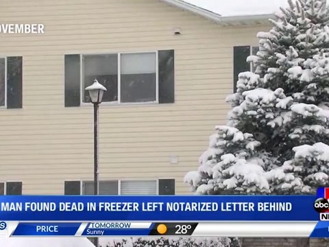 Man found dead in freezer left note saying his wife didn't kill him