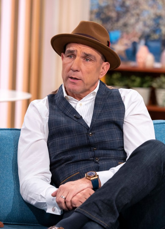 Editorial use only Mandatory Credit: Photo by Ken McKay/ITV/REX (10482741ax) Vinnie Jones 'This Morning' TV show, London, UK - 22 Nov 2019 VINNIE JONES: ?WHY I WANT TO QUIT THE X FACTOR? He tried to walk last weekend, but will Vinnie Jones return to The X Factor: Celebrity stage tomorrow night? Vinnie says he chose to take part in the show to honour his late wife Tanya, but now feels that he's reached the end of his journey on the show. He'll be telling us how singing helped him cope in the wake of such a tragic loss, and whether he's planning a permanent move into the music business.
