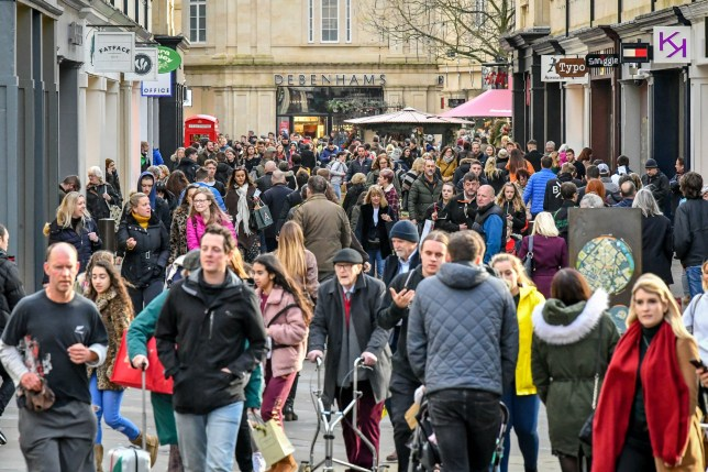 """File photo dated 23/12/2019 of shoppers in Bath city centre on the last Monday before Christmas. There was no last-minute """"dads' dashes"""" on the final shopping day before Christmas, with figures showing a decline in footfall by almost 10%. PA Photo. Issue date: Wednesday December 25, 2019. The number of people going into shops in Britain on Christmas Eve fell by 9.4% compared to the same day in 2018, according to figures by Ipsos Retail Performance. See PA story CITY Footfall. Photo credit should read: Ben Birchall/PA Wire"""