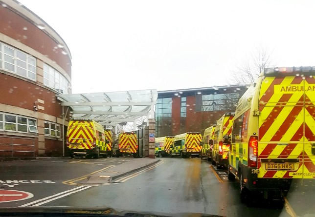 Ambulances wait outside Accident and Emergency at Worcestershire Royal Hospital. See SWNS story SWMDambulances. A staggering 23 ambulances were forced to queue outside an overstretched A&E department just weeks after a patient died in one while waiting for treatment. The huge jam was the second in a matter of days as staff at Worcestershire Royal Hospital were overwhelmed with patients struck down by flu and the norovirus. Last Monday (23/12) was the busiest day for the hospital with 182 patient admissions. Paul Brennan, deputy chief executive of Worcestershire Acute Hospitals NHS Trust, said: ?Demand on our emergency departments continues to be very high and the Christmas period has remained very busy with ambulance arrivals up nine per cent this year compared to last year.